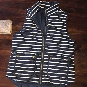J. Crew Striped Puffer Vest